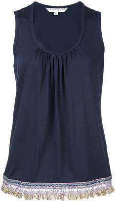 Trina Turk frayed trim draped tank top