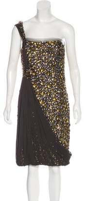 Naeem Khan Embellished Silk Dress Grey Embellished Silk Dress