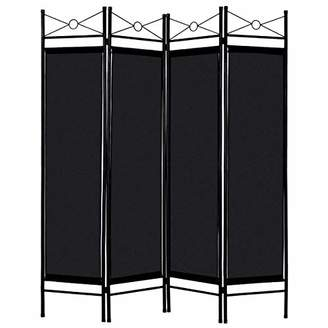 Giantex 4 Panel Room Divider Screens Steel Frame & Fabric Surface Freestanding Room Dividers and Folding Privacy Screens Home Office