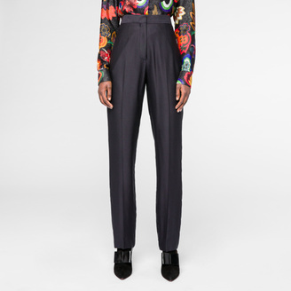 Women's Slim-Fit Navy Silk-Satin Trousers $350 thestylecure.com