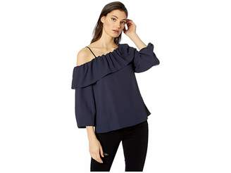 1 STATE 1.STATE Long Sleeve One Shoulder Ruffle Edge Blouse