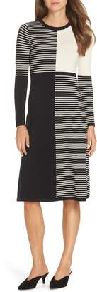 Eliza J Placed Stripe Midi Sweater Dress