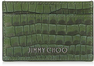 Jimmy Choo DEAN Army Croc Printed Nubuck Card Holder