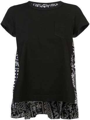 Sacai printed pleated back T-shirt