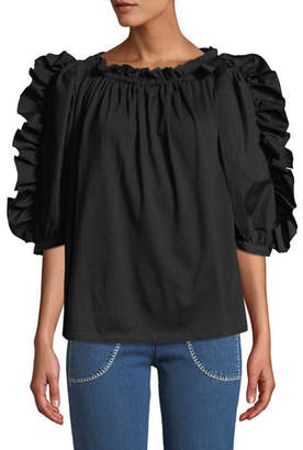 See by Chloe Frilled Poplin Boat-Neck 3/4-Sleeve Blouse