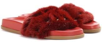 Valentino mink fur slides
