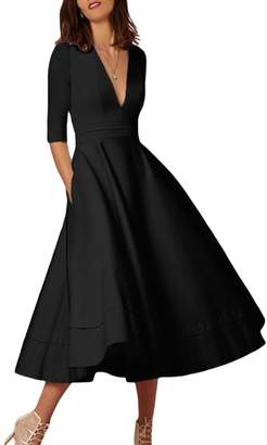 YMING Dress Vintage 1940's Deep V-Neck Prom & Homecoming Swing Dress XL