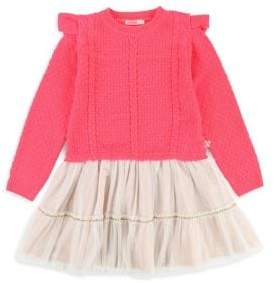 Billieblush Little Girl's Cable-Knit Tulle Dress
