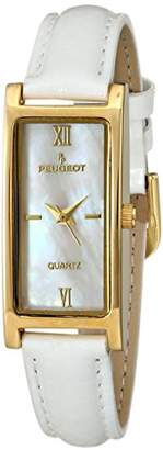Peugeot Women's 14K Gold Plated Mother of Pearl Roman Numeral Face Glossy Leather Thin Skinny Strap Dress Watch 3017WT