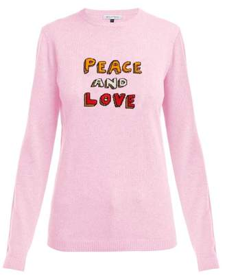 Bella Freud Peace And Love Cashmere Blend Sweater - Womens - Pink Multi