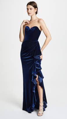 Badgley Mischka Velvet Ruffle Dress