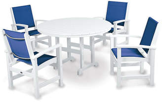 Polywood Coastal 5-Pc Round Dining Set - Blue/White