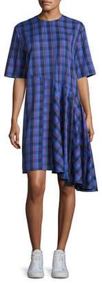 Public School Rima Plaid Cotton Dress, Blue Pattern