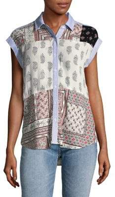 Lord & Taylor Frankie Ryn Patchwork Button-Down Shirt