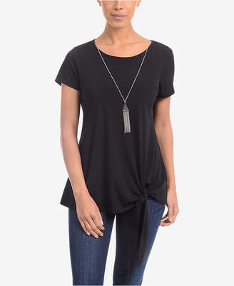 NY Collection Tie-Hem Necklace Top