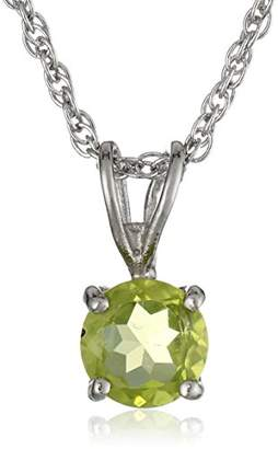 Sterling Round Peridot Pendant Necklace