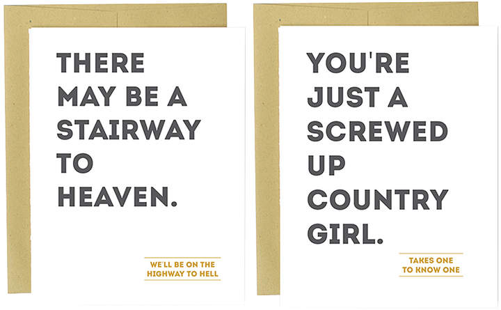 'Stairway to Heaven' & 'Country Girl' Greeting Card Set