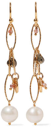 Chan Luu Gold-plated, Pyrite And Pearl Earrings