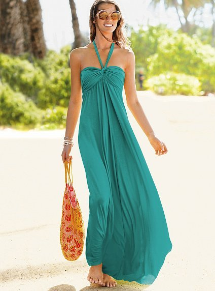 Halter Bra Top maxi dress in solids