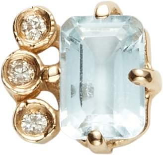 Jacquie Aiche Diamond Aquamarine Baguette Stud