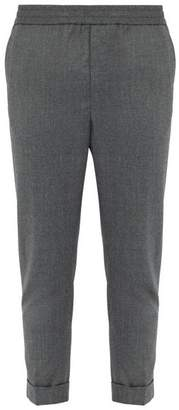 Ami Tapered Wool Flannel Trousers - Mens - Grey
