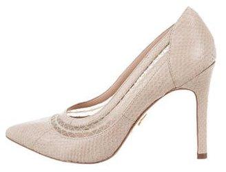 Pour La Victoire Snakeskin Pointed-Toe Pumps $95 thestylecure.com