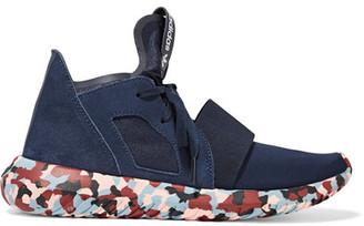 Adidas Originals - + Rita Ora Tubular Defiant Neoprene And Suede Sneakers - Navy $90 thestylecure.com