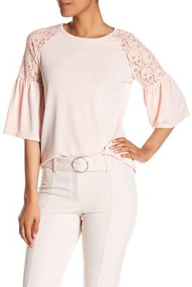 Adrianna Papell Lace Paneled Crew Blouse