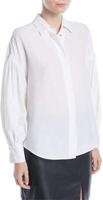 Kiton Balloon-Sleeve Button-Front Silk Blouse