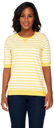 Denim & Co. Active French Terry Short Sleeve Striped Top