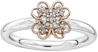 JCPenney FINE JEWELRY Personally Stackable 1/10 CT. T.W. Diamond Two-Tone Flower Ring