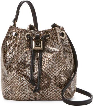 Patrizia Pepe Silver Python Leather Drawstring Handbag