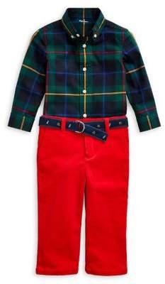 Ralph Lauren Childrenswear Baby Boy's Three-Piece Shirt, Pants & Belt Set