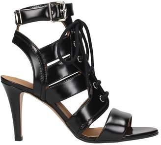 Chloé Black Leather Lace Up Sandals
