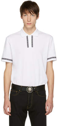 Versace White Logo Tape Polo