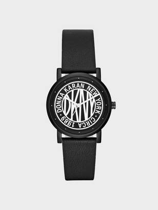 DKNY Soho 34mm Matte Black Stainless-Steel Logo Watch With Leather Strap