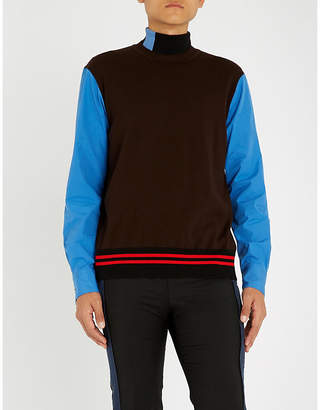 Marni Colour-blocked wool and cotton jumper