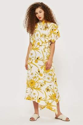 Topshop Linear floral asymmetric dress