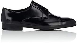 Prada Men's Cap-Toe Spazzolato Leather Bluchers - Black