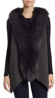Guy Laroche Fox Accented Wool Tuxedo Vest