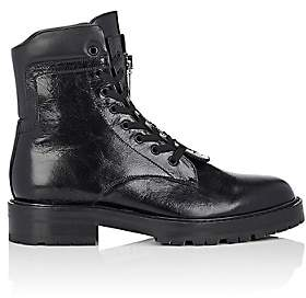 Saint Laurent Men's William Leather Double Lace-Up Boots-Black