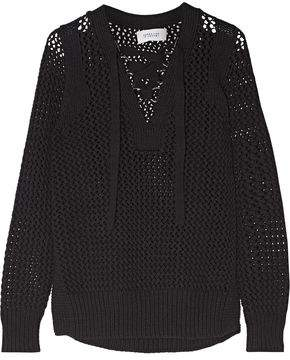 Derek Lam 10 Crosby Lace-Up Open-Knit Cotton Sweater