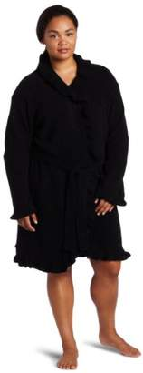 Casual Moments Women's Plus Size 36 Inch Robe With Ruffle Trim