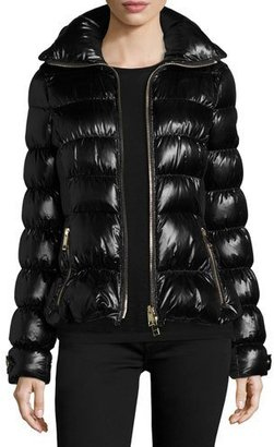 Burberry Ashdon Glossy Fitted Puffer Coat, Black $1,150 thestylecure.com