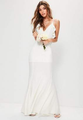 Missguided White Frill Detail Maxi Dress