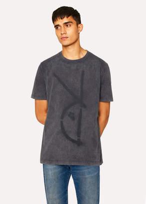Paul Smith Men's Acid-Wash Grey Red Ear 'Rabbit Spray' T-Shirt