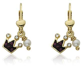 Molly Glitz Girls' Pretty Princess 14k Gold-Plated Crystal Crown and Freshwater Pearl Dangle Drop Earrings