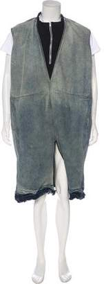 Rick Owens Oversize Drop-Crotch Distressed Denim Bodybag Jumpsuit
