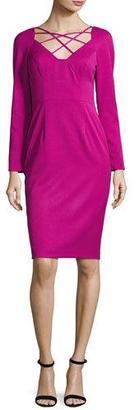 Black Halo Long-Sleeve Strappy V-Neck Sheath Dress, Wold Astor $375 thestylecure.com