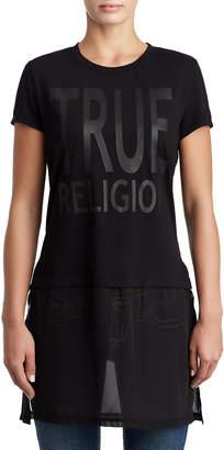 True Religion WOMENS SHEER LAYERED LOGO TUNIC